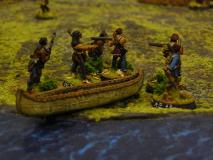 French and Aboriginal Allies come ashore heading towards their Aboriginal Foes' village at  Pickawillany.