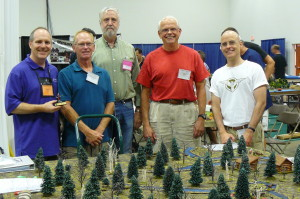 Robin Empey, Game Master and designer (L) standing with Wargamers John, John, John and Dave (a.k.a. not John) at Historicon